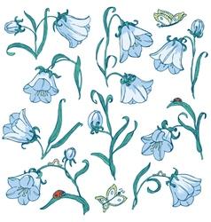 Doodle floral set vector