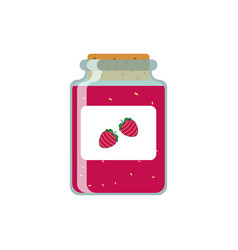 Drawing jars with strawberry jam on vector