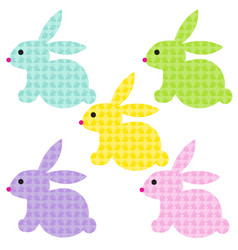 easter bunnies with bunny patterns vector image