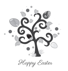 easter tree Holiday card Gray color vector image
