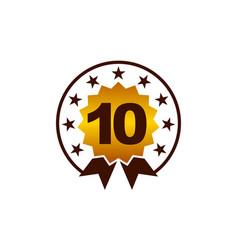 emblem best quality number 10 vector image