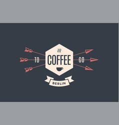 Emblem cafe with arrows vector