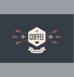 Emblem of cafe with arrows vector
