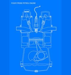 Engine line drawing blueprint vector