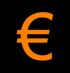 euro sign orange icon on black background old vector image