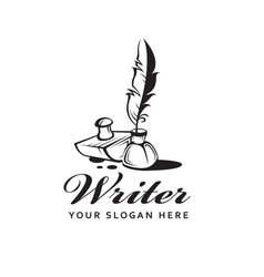 Feather pen and inkwell vector