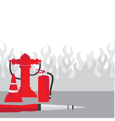 Fire fighting equipment vector