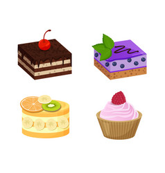 four sweet dessert posters vector image