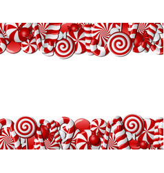 Frame made of red and white candies vector