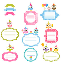 Frames and stickers with owls for scrapbooking vector
