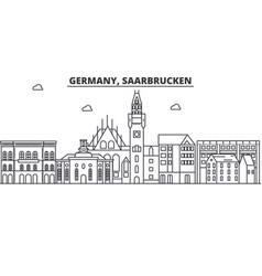 Germany saarbrucken architecture line skyline vector