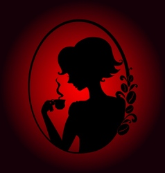 girl with cup of coffee shadow red vector image