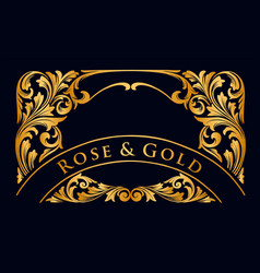 gold label and luxury frame ornaments for wedding vector image