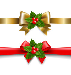 golden and red bow with holly berry vector image