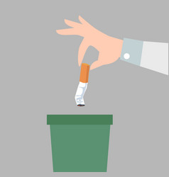 hand putting cigarettes in trash bin flat style vector image