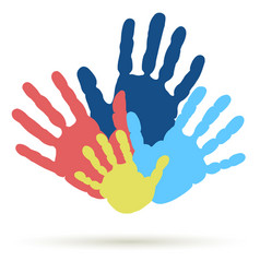 Handprint of family team united support vector