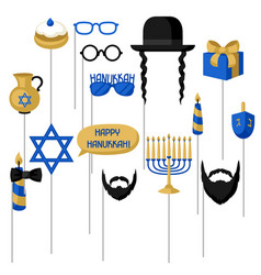happy hanukkah photo booth props accessories for vector image