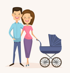 happy young family couple with baby carriage vector image