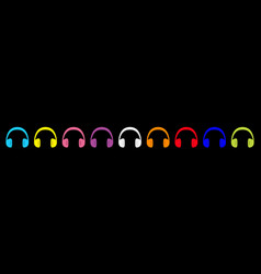 headphones earphones icon set line colorful vector image