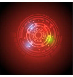 hight tech circle abstract technology red vector image