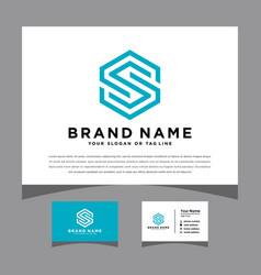 Initials letter s logo with a business card vector