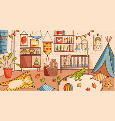 Interior of nursery or baby room full of furniture vector