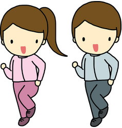 Jogging boy and girl vector image
