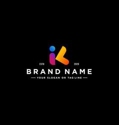 Letter ik colorful logo design vector