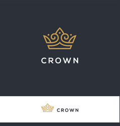 linear elegant crown logo vector image