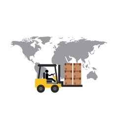 Map and forklift icon Delivery and Shipping vector image