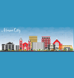 Mason city iowa skyline with color buildings and vector