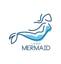 Mermaid logo silhouette of mermaid for badge vector