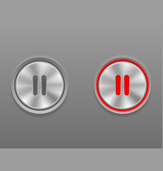 Metal media button pause on and off position stock vector