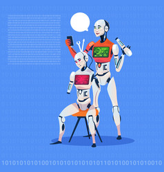 Modern robot fixing electronic cyborg futuristic vector