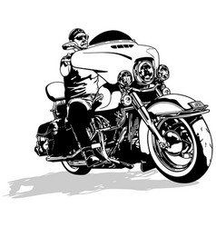 Motorcyclist on motorcycle drawing vector
