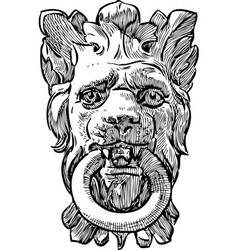 Old architectural detail in shape a lion head vector