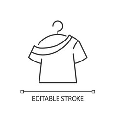one shoulder t shirt linear icon vector image