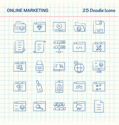 Online marketing 25 doodle icons hand drawn vector