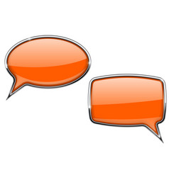 orange speech bubbles round and square 3d icons vector image