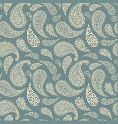 paisley pattern background green floral ornament vector image