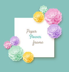 paper flower frame turquoise background vector image