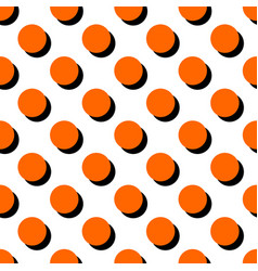 Pattern with big orange polka dots on white vector