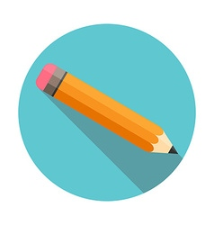 pencil with eraser flat design long shadow circle vector image
