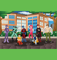 people in cosplay costume vector image