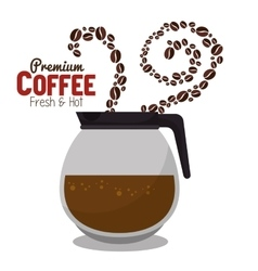 Pot coffee hot beans premium graphic vector
