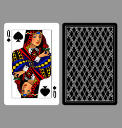 queen of spades playing card and the backside vector image