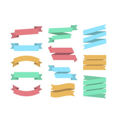 ribbons set 12 bunners colorful set ribbin vector image