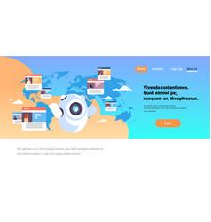robot chatbot online messenger global arabic vector image
