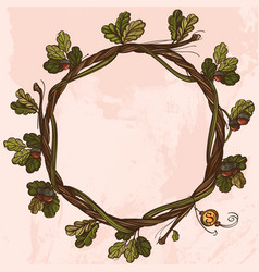 Round vintage frame of oak branches with leaves vector