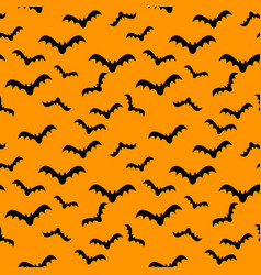 seamless pattern orange background with bat vector image